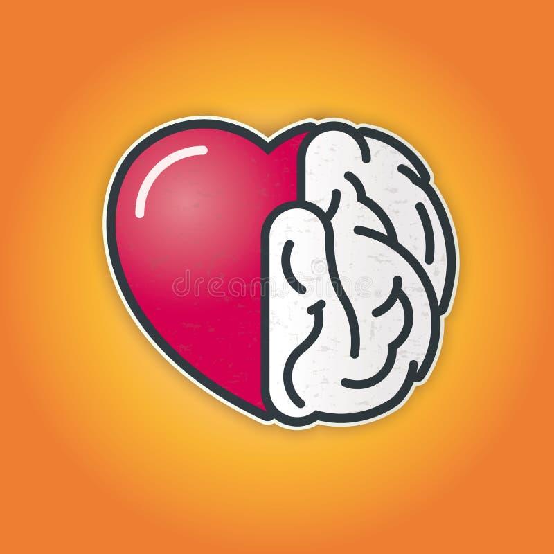 Verbinding van Hart en Hersenen vector illustratie