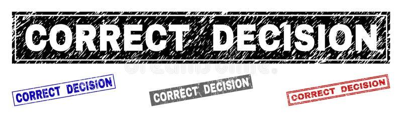Verbindingen van de de Rechthoekzegel van het Grunge de CORRECTE BESLUIT Geweven vector illustratie