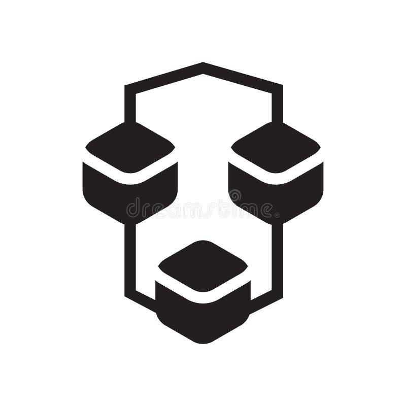 Verbindingsvakje het het vectordieteken en symbool van het grafiekpictogram op whi wordt geïsoleerd stock illustratie