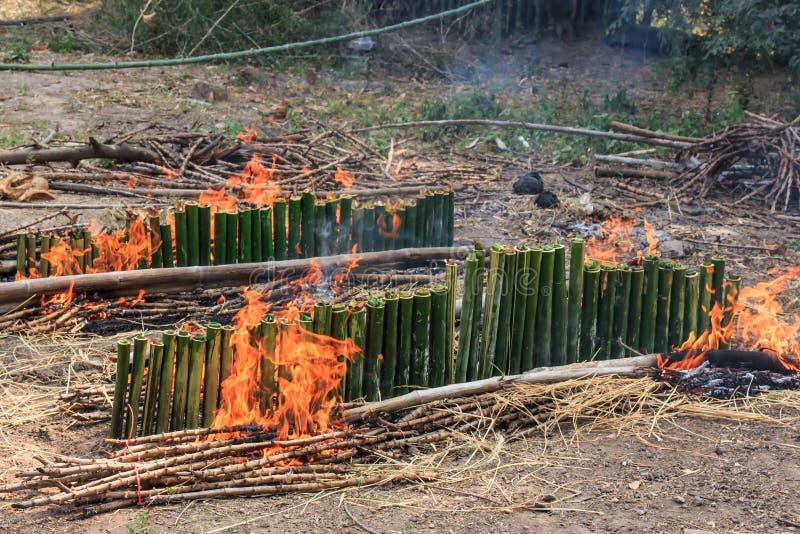 Verbindt het Khaolam Thaise Dessert, Glutineuze die Rijst in een Bamboe wordt geroosterd stock foto's