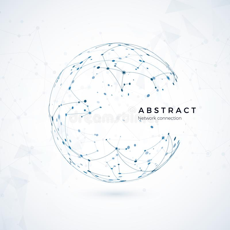 Verbindung des globalen Netzwerks Abstraktes Welt-wireframe, Punkt und Linie Zusammensetzungskonzept des globalen Netzes lizenzfreie abbildung