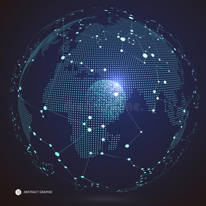 Verbindung des globalen Netzwerks, internationale Bedeutung Weltkarte poin, stock abbildung
