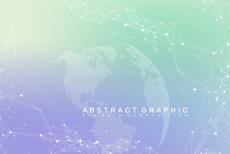 Verbindung des globalen Netzwerks Netz und großer Datensichtbarmachungshintergrund Globales Geschäft Auch im corel abgehobenen Be vektor abbildung