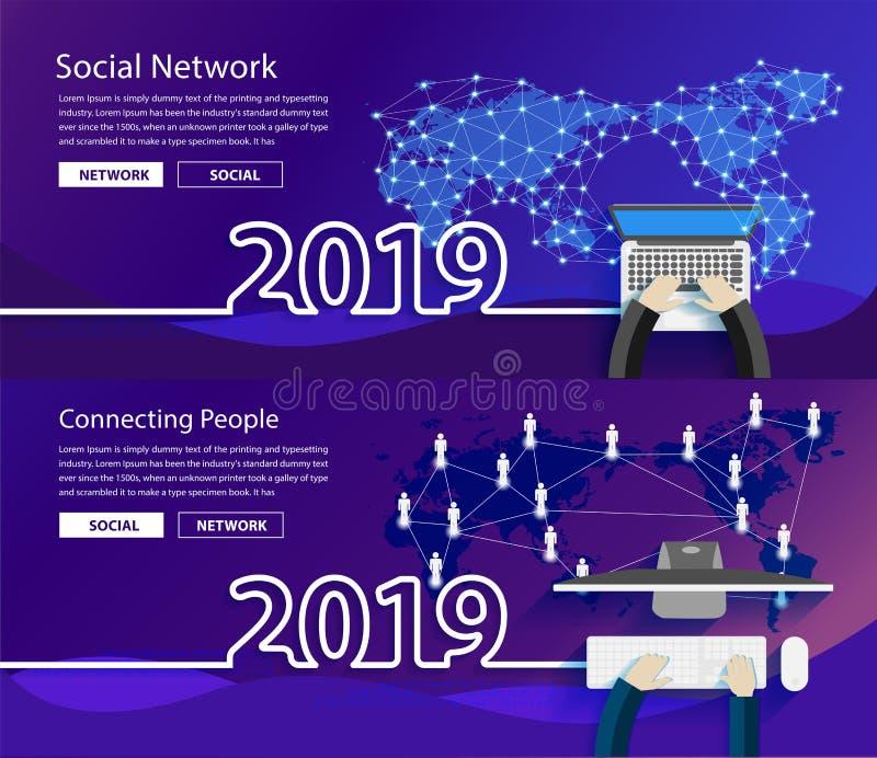 Verbindung 2019 des globalen Netzwerks des neuen Jahres des Vektors vektor abbildung