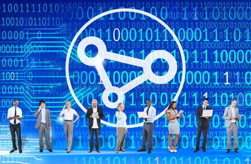 Verbindung schließen sich Link-Netzzugang-sozial-Bondkonzept an stockbilder