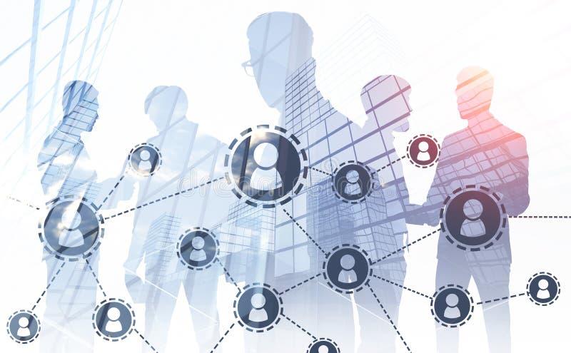 In Verbindung stehende Geschäftsmänner, Soziales Netz vektor abbildung
