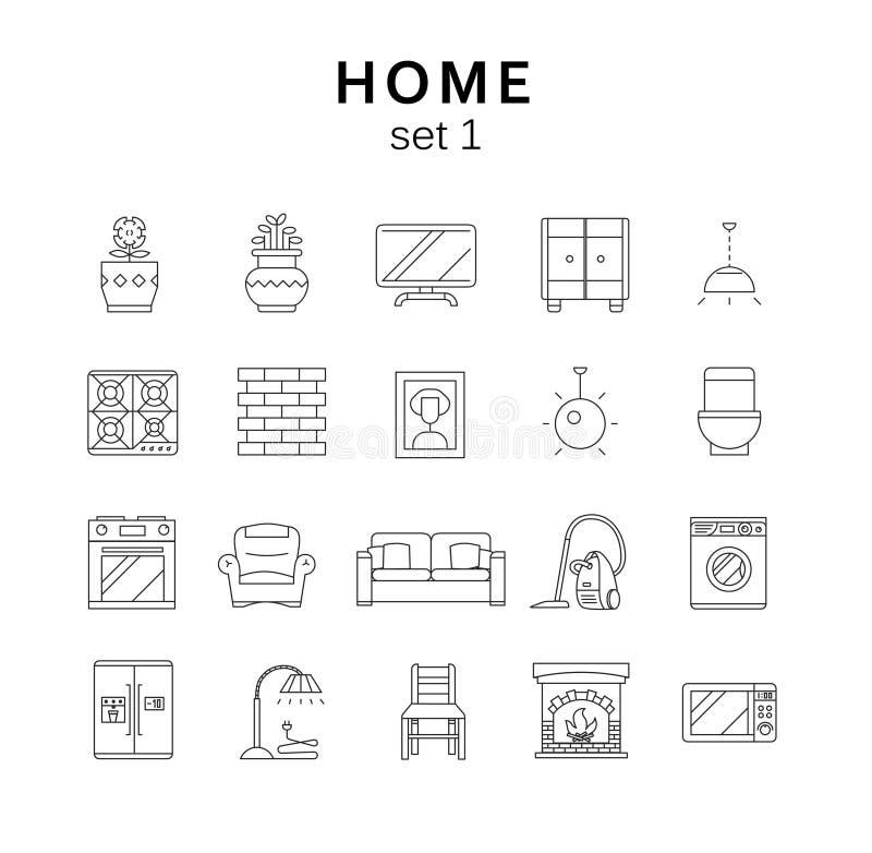 In Verbindung stehende Hauptikonen set1, Vektorillustration, Linie Ikonen stock abbildung