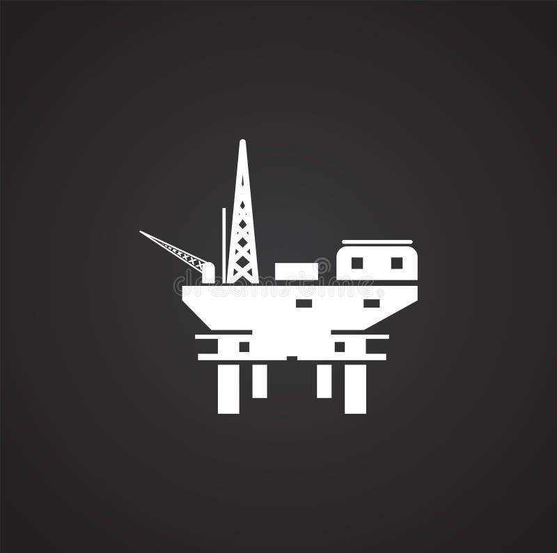 In Verbindung stehende Ikone der Ölplattform auf Hintergrund für Grafik und Webdesign Einfache Abbildung Internet-Konzeptsymbol f vektor abbildung