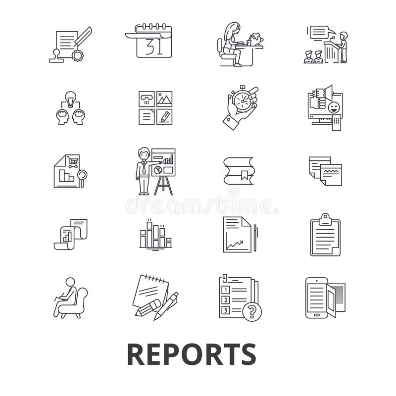In Verbindung stehende Ikonen der Berichte lizenzfreie abbildung
