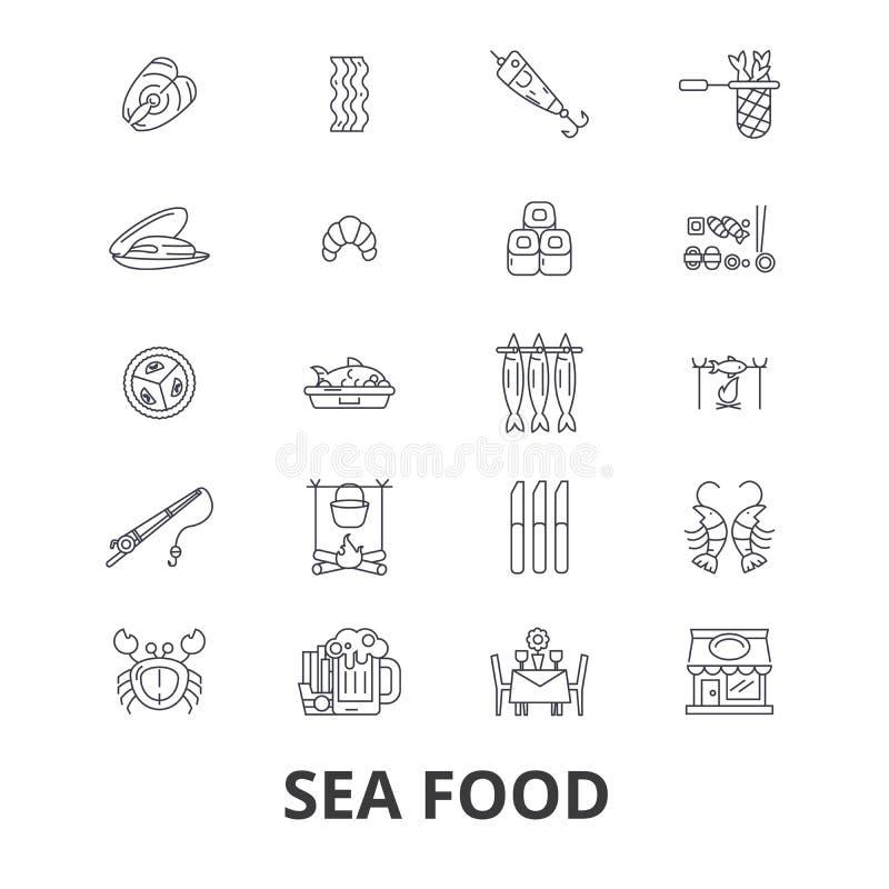 In Verbindung stehende Ikonen der Meeresfrüchte stock abbildung