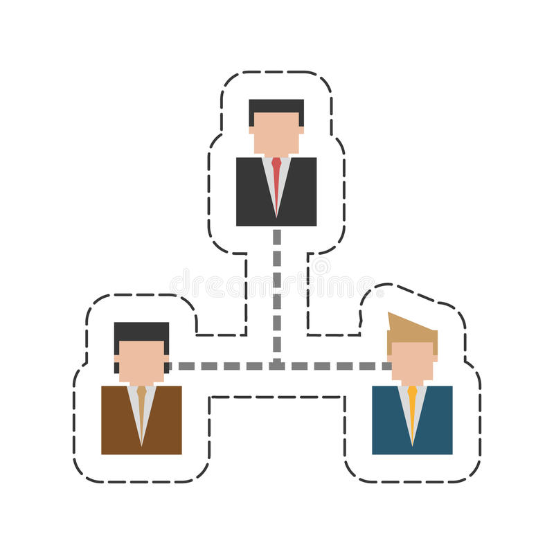 In Verbindung stehendes Ikonenbild der Geschäftshierarchie vektor abbildung