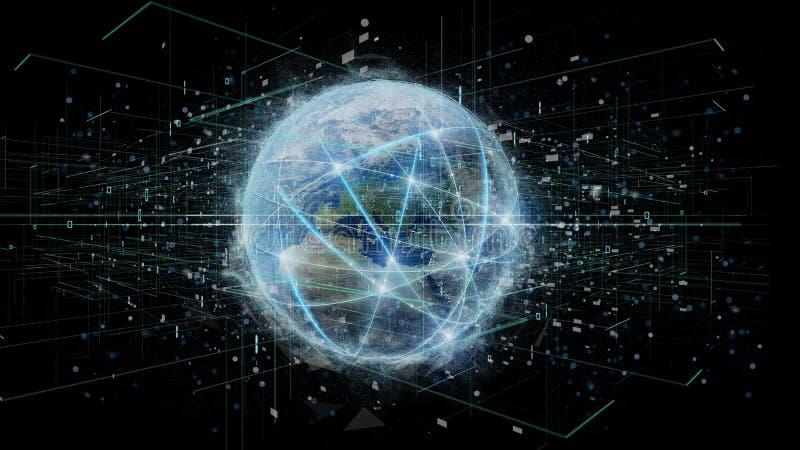 Verbindung um eine Weltkugel, die auf einem Hintergrund 3d lokalisiert wird, zerreißen vektor abbildung