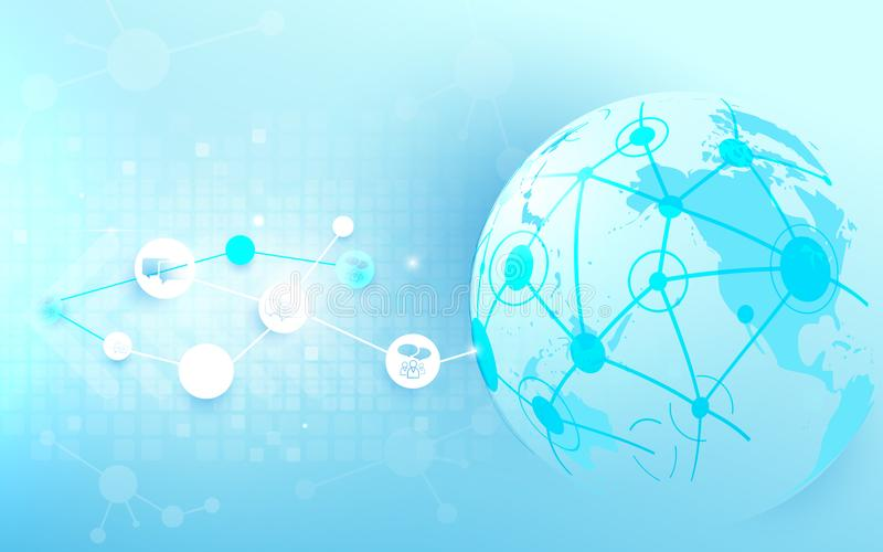 Verbindung und Weltkarte des globalen Netzwerks mit Sozialkommunikationshintergrund lizenzfreie abbildung