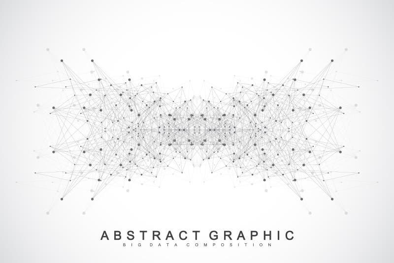 Verbindungen des globalen Netzwerks mit Punkten und Linien Vernetzungs- und Big Data-Sichtbarmachungshintergrund Futuristisches g lizenzfreie abbildung