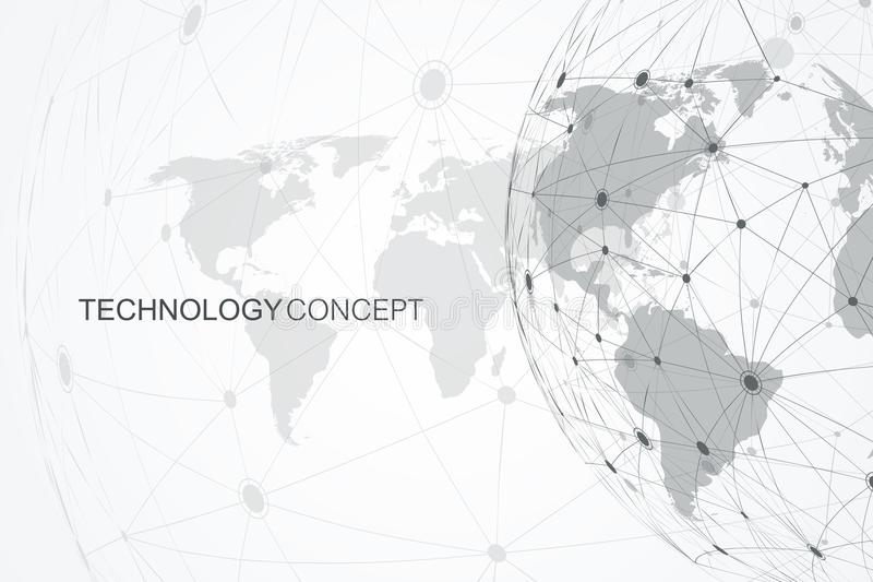 Verbindungen des globalen Netzwerks mit Weltkarte Internetanschlusshintergrund Abstrakte Verbindungsstruktur polygonal lizenzfreie abbildung