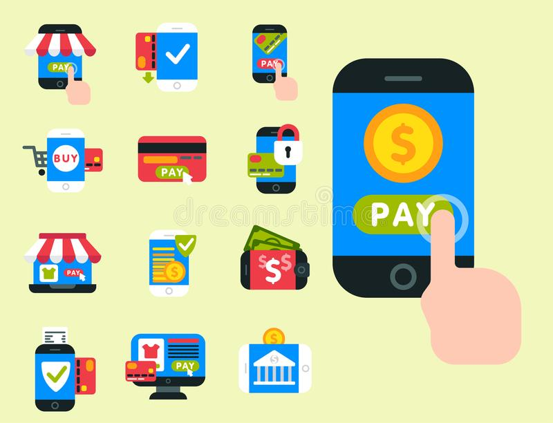 Verbindungs-Scheckkarte-Kreditlohn der mobilen Geldbörse des Zahlungsikonenvektor Smartphonegeschäftselektronischen geschäftsverk lizenzfreie abbildung
