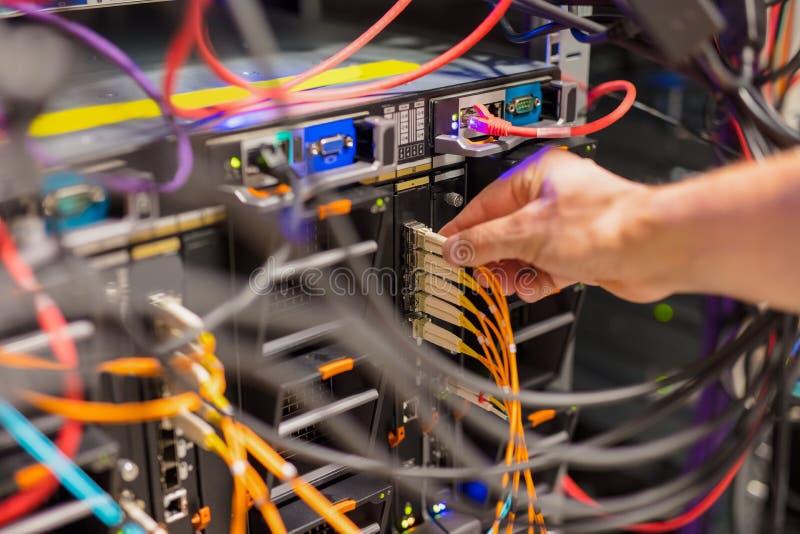 Verbindungsnetzkabel des IT-Fachmannes in Schalter lizenzfreies stockbild