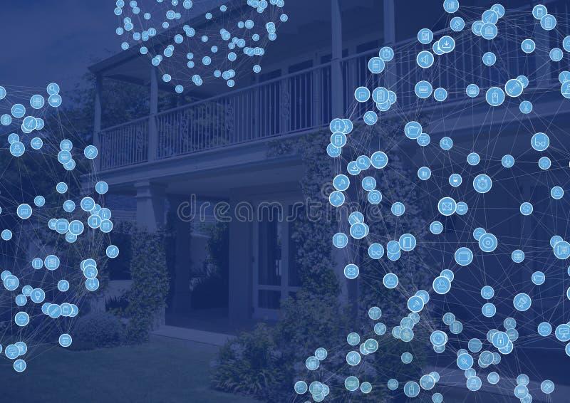 Verbindungsstücke über Haus lizenzfreie abbildung