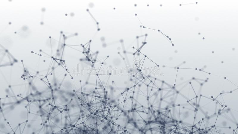 Verbindungsstruktur Punkte und Zeilen Animation 3D lizenzfreies stockbild