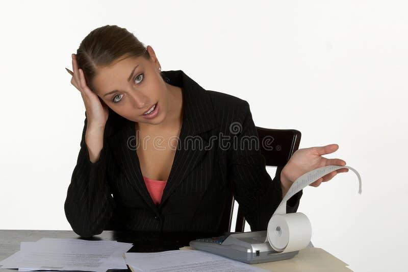 Verblüffte junge Geschäftsfrau lizenzfreie stockfotos
