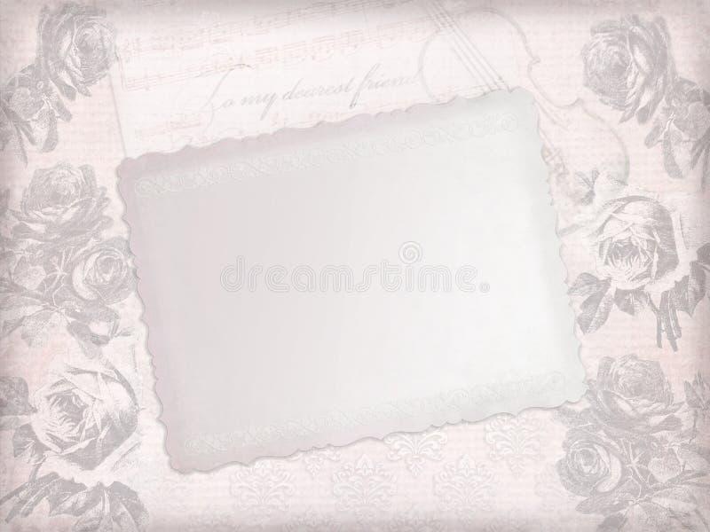 Verblaßtes rosa Papierblatt mit Skizzen von Rosen lizenzfreie abbildung