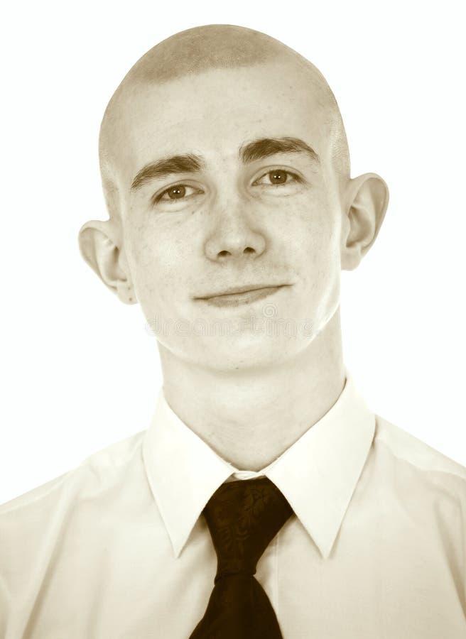 Verblassenes Portrait des jungen Mannes auf einem Weiß stockfoto