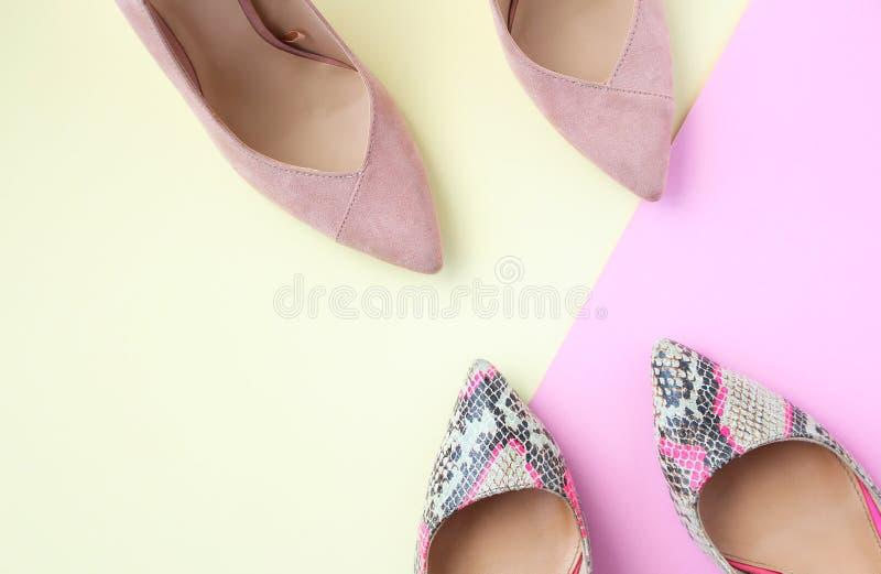 Verbleek - roze en slangdruk vrouwelijke schoenen Schoenen van de vrouwen de hoge hiel op beige en roze achtergrond Trendy manier royalty-vrije stock afbeeldingen