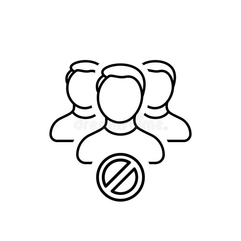 Verbod, blok, contact, groep, profiel, einde, gebruikerspictogram royalty-vrije illustratie