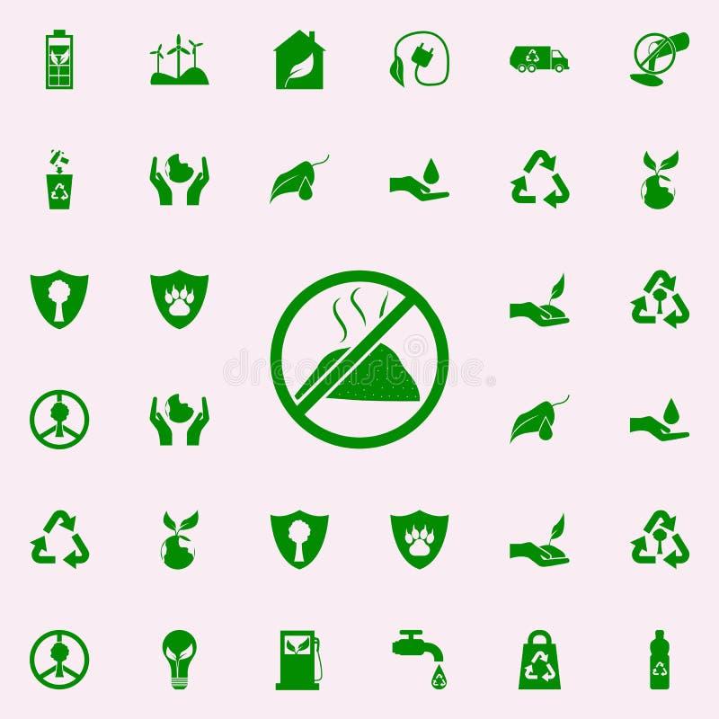 verbod op vuilnis groen pictogram voor Web wordt geplaatst dat en mobiel de pictogrammenalgemeen begrip van Greenpeace vector illustratie