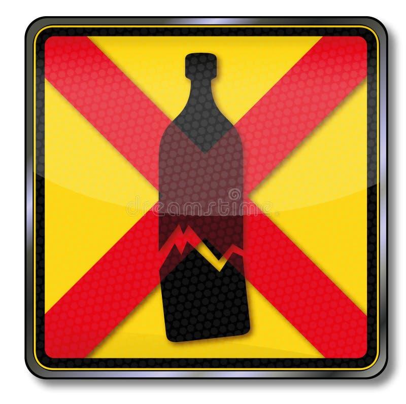 Verbod van gebroken glasfles stock illustratie