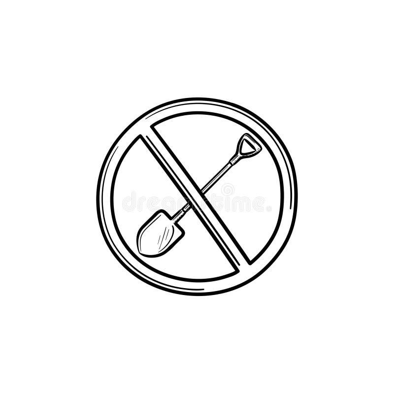 Verboden aan pictogram van de het overzichtskrabbel van het schopteken het hand getrokken stock illustratie