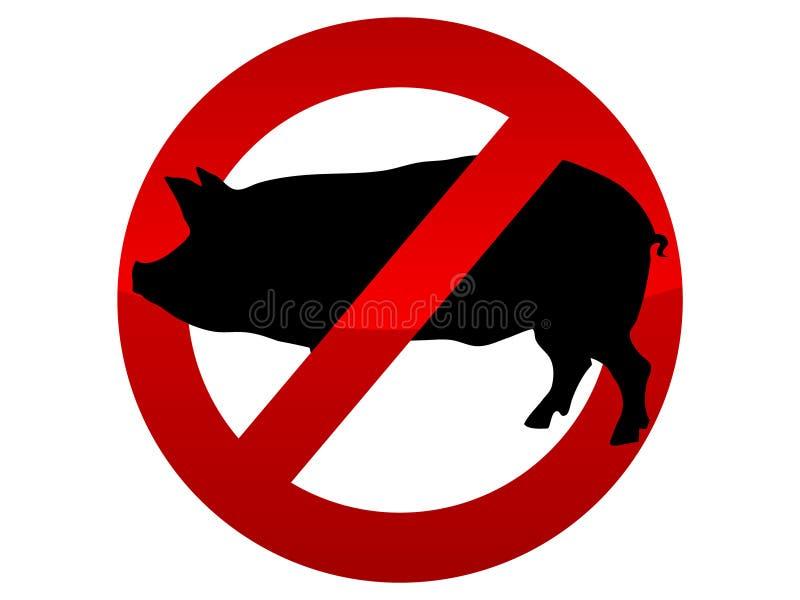 Verboden de griepvirus van pictogramvarkens royalty-vrije illustratie