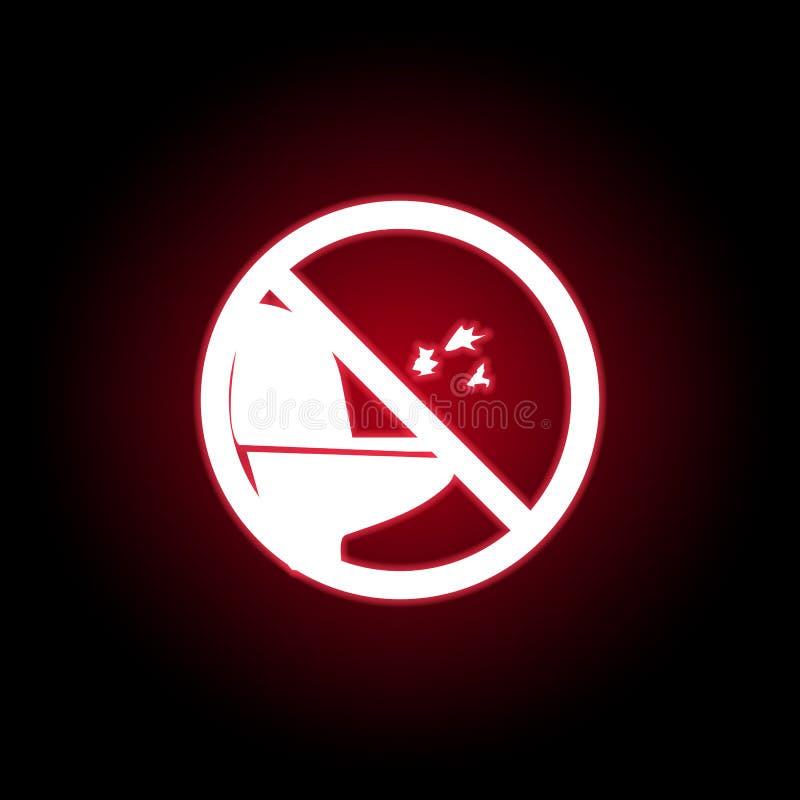 Verboden het werpen van document aan toiletpictogram in rode neonstijl Kan voor Web, embleem, mobiele toepassing, UI, UX worden g royalty-vrije illustratie