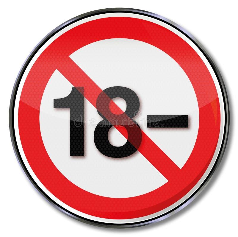 Verboden onder achttien en minderheid stock illustratie