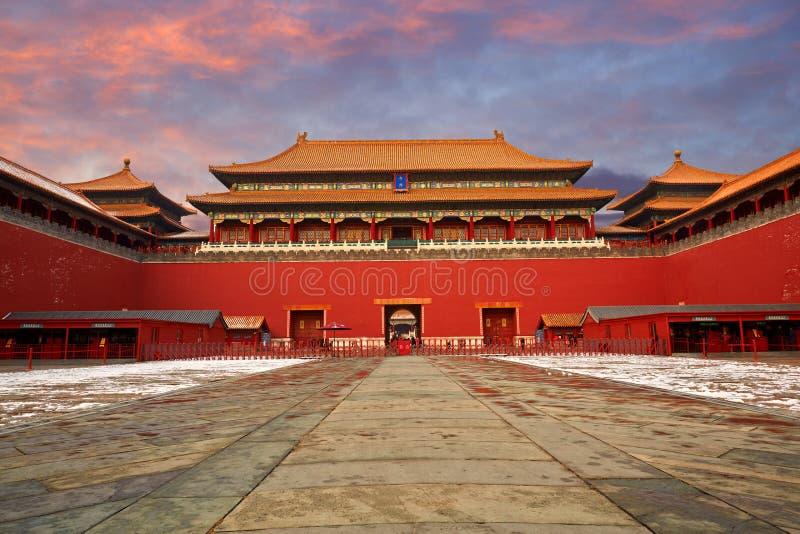 Verboden Stad en sneeuw, Peking stock fotografie