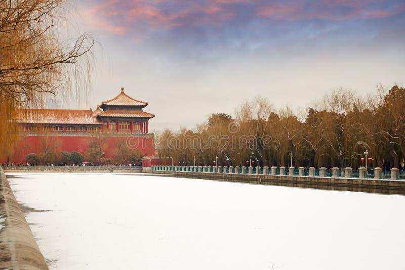 Verboden Stad en sneeuw, Peking royalty-vrije stock foto