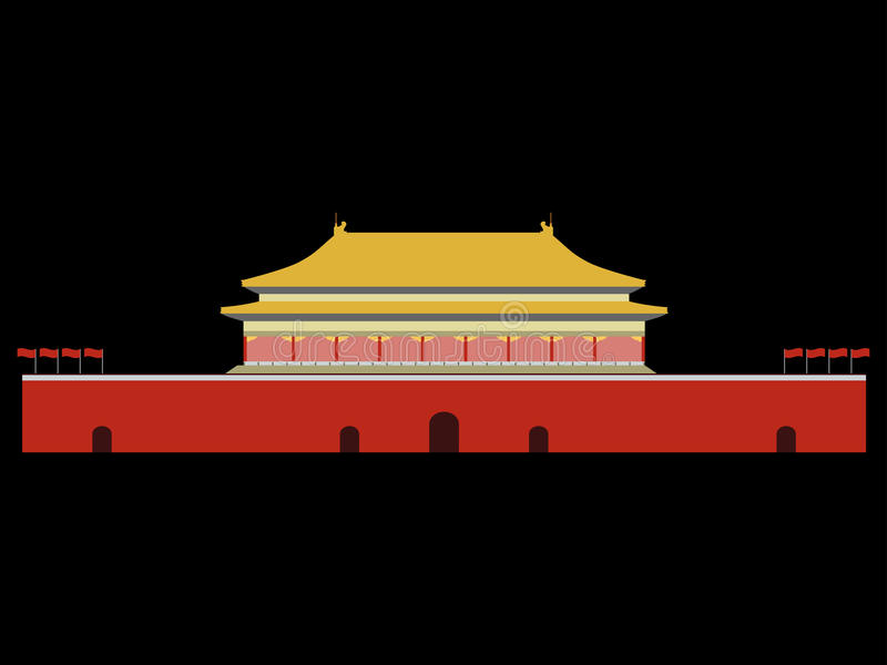 Verboden stad Poort van Hemelse Vrede Het Vierkant van Beijing Beijin royalty-vrije illustratie