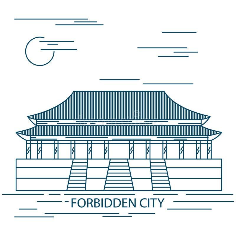 Verboden stad Poort van Hemelse Vrede Het Vierkant van Beijing Peking vector illustratie