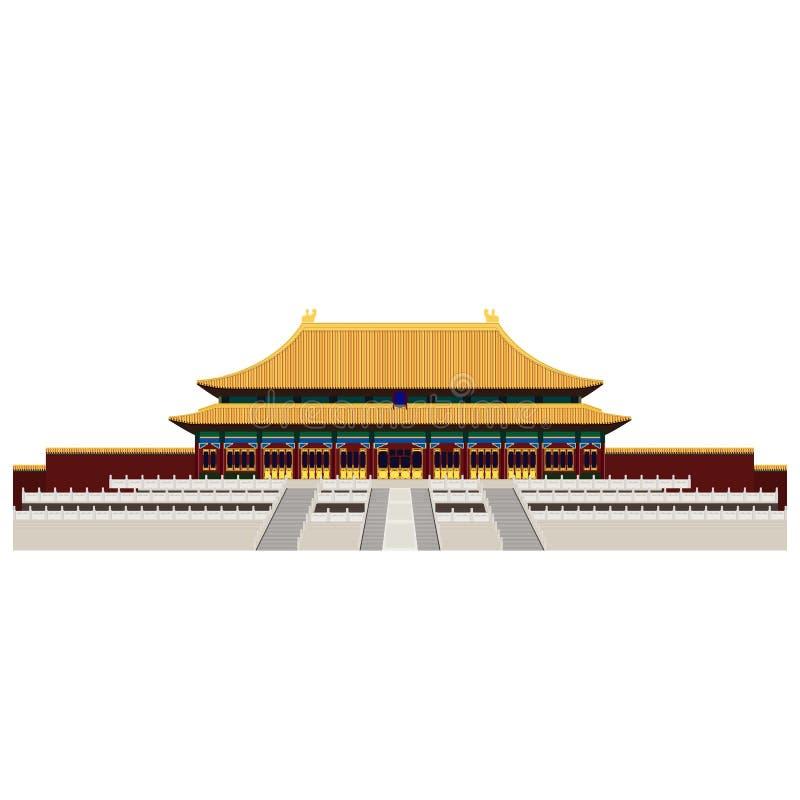 Verboden stad Poort van Hemelse Vrede Het Vierkant van Beijing Peking In illustratie, Vlakke kunststijl vector illustratie
