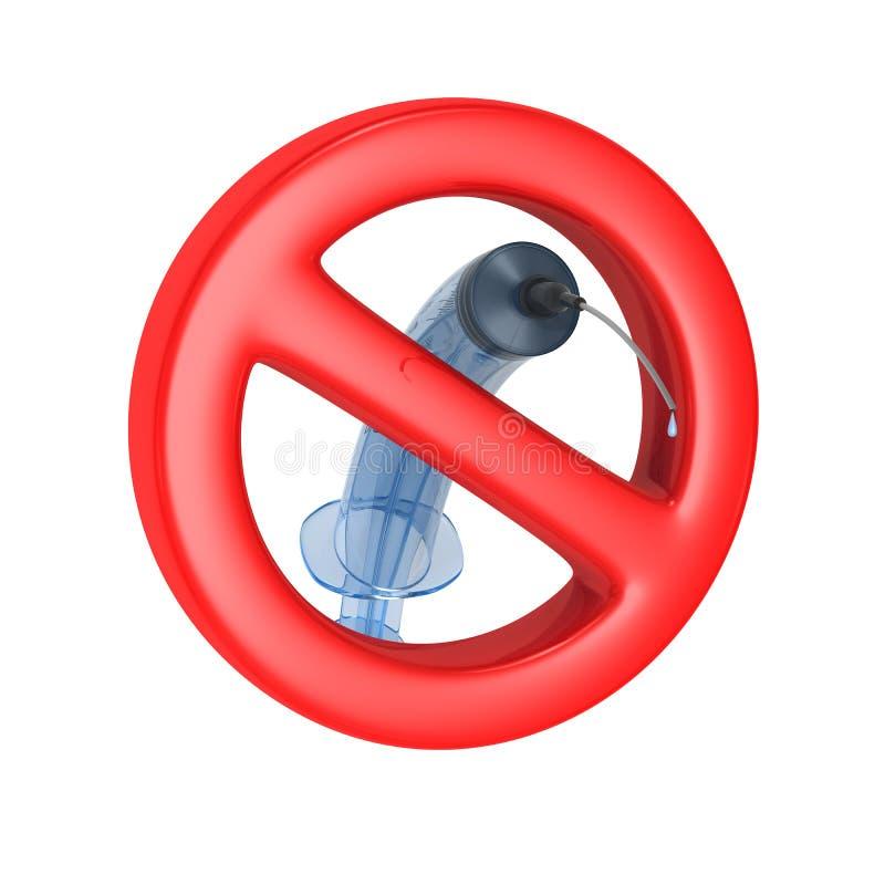 Verboden teken en medische spuit op witte achtergrond Ge?soleerde 3d illustratie royalty-vrije illustratie
