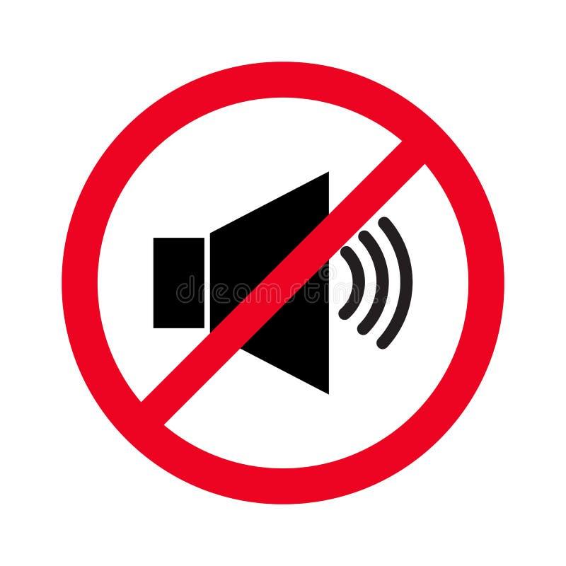 Verboden teken met luidsprekers glyph vector vlak pictogram Het wijzen van op signaal aan lawaaiverbod Spreker met verbodsteken S stock illustratie