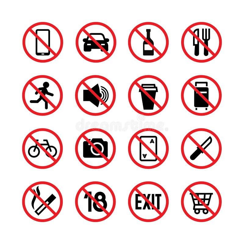Verboden tekens Verbod en waarschuwings vectorsignaalpictogrammen royalty-vrije illustratie