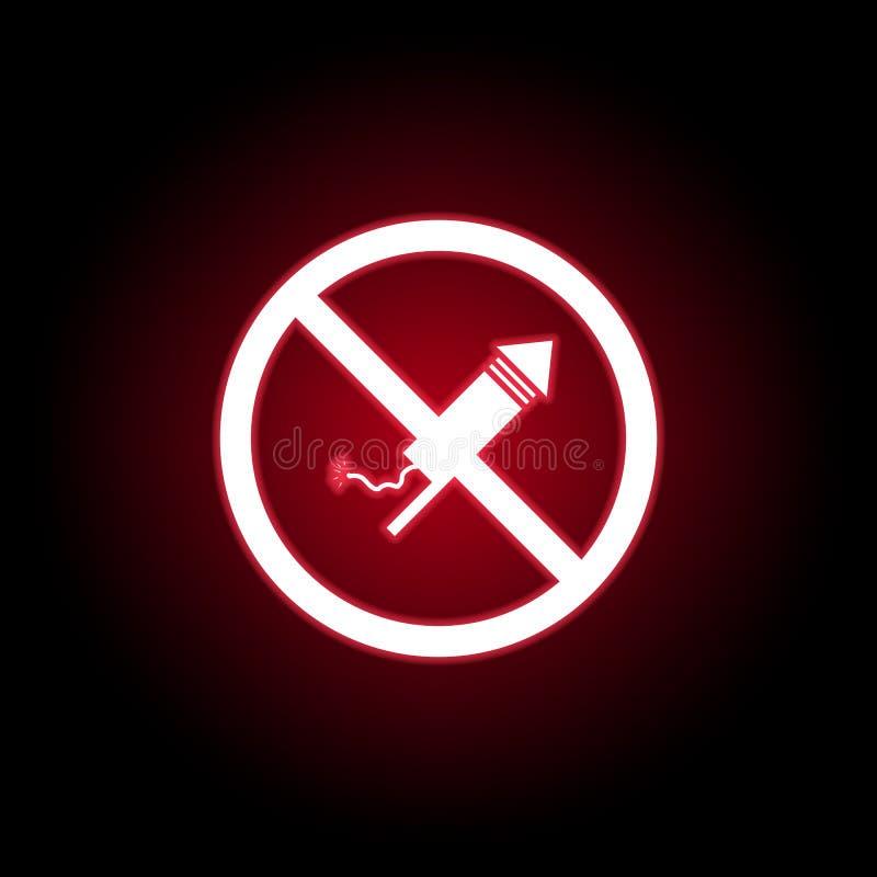 Verboden vuurwerkpictogram in rode neonstijl Kan voor Web, embleem, mobiele toepassing, UI, UX worden gebruikt royalty-vrije illustratie