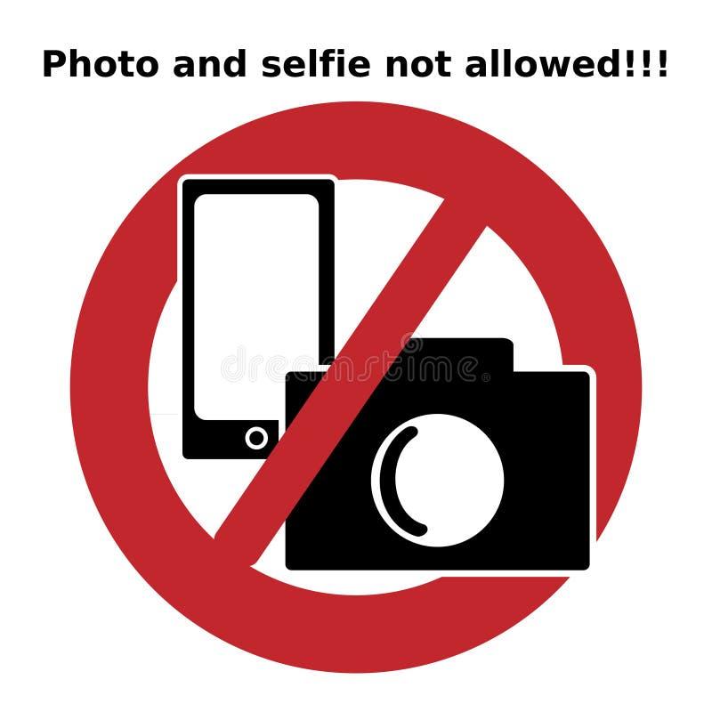 Verbodspictogram De foto en selfie niet alloweed Pictogramfoto en selfie toegestaan Tekens en Symbolen vector illustratie