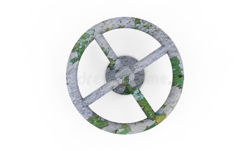 Verbogenes Rohr des alten rostigen Ventils Metall Lokalisiert ?ber wei?em Hintergrund Konzept der Rohrleitung Wiedergabe 3d stock abbildung