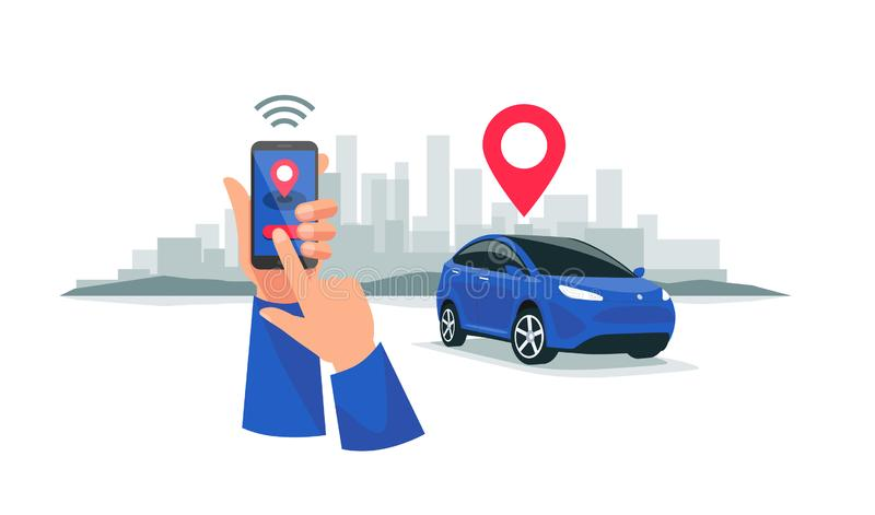 Verbonden Autoparkeren die de Dienst Met afstandsbediening via Smartphone App delen royalty-vrije illustratie