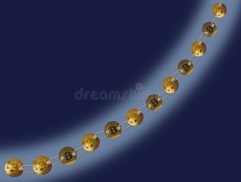 Verbonden bitcoins met blauwe achtergrond voor blockchain stock illustratie