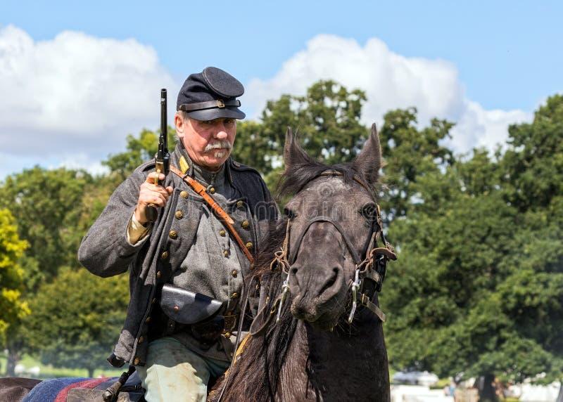 Verbonden Cavalerist van de Amerikaanse Burgeroorlog stock foto's