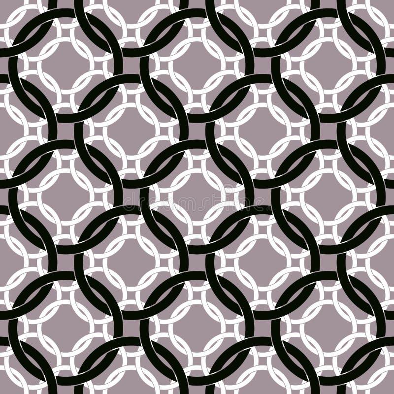 Verbonden cirkels naadloos patroon, retro stijl geometrische vector vector illustratie