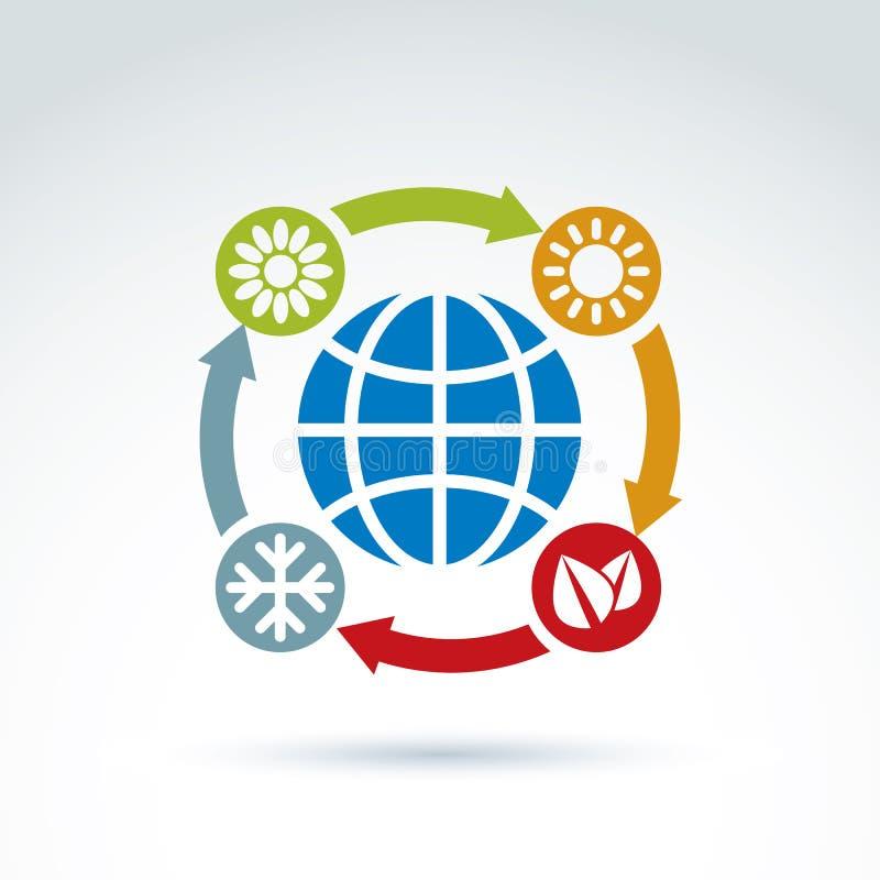 Verbonden die cirkels met seizoenpictogrammen rond het vliegtuig worden geplaatst vector illustratie